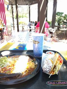 Given it's my first time at a Taco Cabana, I'm assuming the best place to enjoy the gorgeous sunny 75 degree weather is in the actual cabana itself. Views of the I-610 underpass have never been so spectacular.