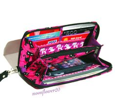Black Cats and Pink With Glitter Zip Around Wallet by moonflower20