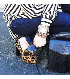 leopard pumps + stripes