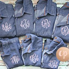 Love this bridal set! Dark Denim shirts with light pink thread and Empress font! Contact us if you would like our Denim shirts for your group or bridal party!