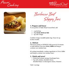 Power Cooking BBQ Beef Sloppy Joes - freezer meal www.pamperedchef.biz/marinaowens #OAMC  Host a Power Cooking Pampered Chef Show