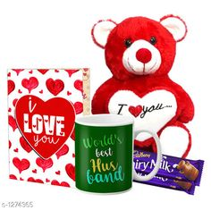 Accessories Delight Gifts(Pack Of 4)  Material: Mug - Ceramic Greeting Card - Paper Teddy Bear - Imported Size : Greeting Card : A4 Teddy Bear - 6 in           Capacity : Mug - 325 ml Description: It Has 1 Piece Of Mug & 1 Piece Of Greeting Card & 1 Piece Of Teddy Bear & 2 Pieces Of Chocolate Work : Mug - Printed Greeting Card - Printed Country of Origin: India Sizes Available: Free Size   Catalog Rating: ★4.1 (1537)  Catalog Name: Delight Gifts Combo Vol 8 CatalogID_161917 C127-SC1621 Code: 153-1274365-108