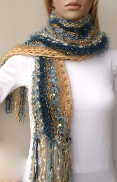 22d58619ce4 Hand knit scarf Blue and Gold designer sport by SallyAnnaBoutique