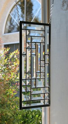 TWILIGHT ~ Clear Beveled Stained Glass Window, Clear Stain Glass panel, small sidelight or transom, Clear Bevels, Contemporary Stained Glass Designs, Stained Glass Panels, Stained Glass Projects, Stained Glass Patterns, Leaded Glass, Stained Glass Art, Beveled Glass, Glass Mosaic Tiles, Mosaic Mirrors