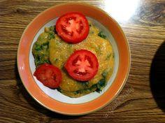 Vegan Polenta with Kale Breakfast.  Ready in about 5 mins!  #genkikitty #polenta #kale #tomato #breakfast #easy #cheap #vegan