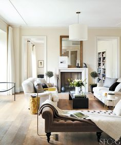 Neutrals and white living room sofas. Also the chaise is a cool additional piece
