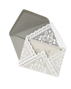 Think I want to do this for the interior envelopes if I can find square doilies. Lacey DIY envelope liners (need square paper doilies) Paper Doilies, Paper Lace, Diy Wedding, Dream Wedding, Wedding Ideas, Trendy Wedding, Wedding Photos, Wedding Pins, Wedding White