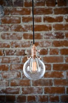 pendant lighting copper seeded glass globe cloth wire plug in or ceiling canopy mount edison bulb compatible