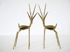 Mid century brass pair of antelope figurines ibex  French brass antelope statue art woodland animal gazelle sculpture handmade