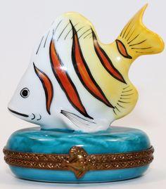 Limoges France Marque Deposee Peint Main Parry Vielle PV FISH Trinket Box RARE #Limoges
