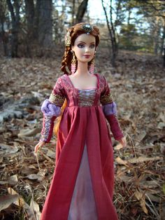 """""""Princess Eyrisse"""" Renaissance Medieval Barbie Doll with Restyled Hair & Couture Costume Dress - by Morgan May @ Stardust Dolls - http://www.stardustdolls.com"""