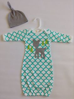 Newborn Gown- Going Home Outfit- Baby- Gown and Hat- Boy Sleep Sack- Critters and Curls on Etsy, $33.00