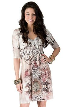 R. Rouge Ladies Light Brown Sublimation Studded 3/4 Sleeve Dress