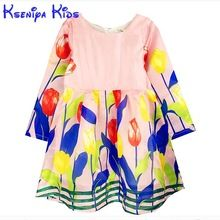 2016 European Style Floral Baby Girl Dress Long Sleeve Kids Dresses For Girls Clothes Fashion Cute Christmas Gift 2-10y Zk0704(China (Mainland))