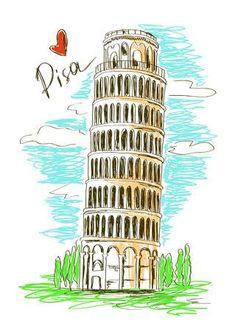 Colorful sketch illustration of Pisa tower, Italy Illustration , Italy Illustration, Travel Illustration, Logo Tigre, Pisa Tower, Pisa Italy, Italy Art, Urban Sketching, Travel Scrapbook, Travel Posters