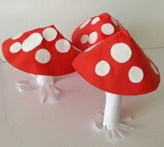 Voor als het buiten giet: lekker paddenstoelen knutselen! leeftijd: 3-6. Knutselen met kinderen, knutseltips, knutselidee, www.kinderknutseltips.nl
