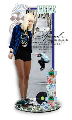 """""""Skateboard girl"""" by kamkami ❤ liked on Polyvore featuring art"""