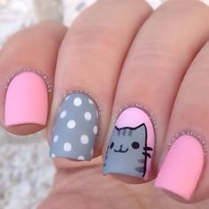 """Instagram photo by badgirlnails - @pusheen nails I got some requests for cat designs, so I chose this little guy cause he's da cutest. The pink polish is OPI """"Mod About You"""" and the light grey is @shoplvx """"Oyster"""" Then the entire mani was topped with OPI Matte Topcoat  I got a bunch of calls while filming this tutorial so I think I may have to just re-film it let me know if you guys want to see how I drew him, and I can try to get it up soon"""