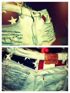 Levis American Flag High Waist Distressed Denim Shorts