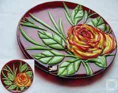 "Repina Elena. Decorative dish-panno ""Rose"" glass fusing"