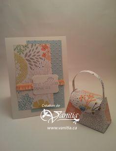 Carte de voeux aux couleurs printanières avec petit sac assorti. Parfait pour des chocolats ou un petit bijoux! Papier Stampin Up Doux Sorbet - SAB 2014