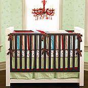 Carey Red Green and Blue Modern Boys 3 Piece Crib Set