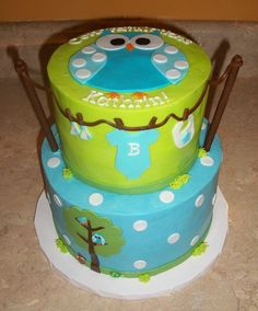 Blue Owl Baby Shower: probably my favorite boy cake so far.