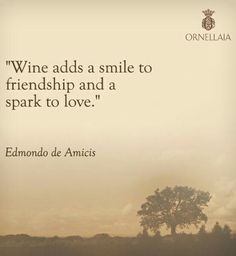 "Wine Quotes: ""Wine adds a smile to Friendship & a spark to Love"" __ⓠ Edmondo de Amicis __Ornellaia Wines"