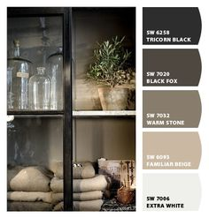 Table? Paint colors from Chip It! by Sherwin-Williams - Black Fox. would like to follow a palette like this. Black fox in real life is a super neat charcoal color.
