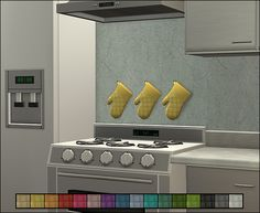 Recolours of Sizzling Cuisine Mitts - Anna's Sims The Sims 2, Sims 4, Painted Brick Walls, Concrete Wall, I Am Game, Clutter, Kitchen Cabinets, Colours, Stuff To Buy