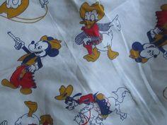 Vtg. 40's Disney Western MIckey Mouse Cotton Feedsack Quilt Fabric Donald Rare Alexander Henry Fabrics, Bears Football, Craft Cutter, Feed Sacks, Blue Quilts, Vintage Disney, Cotton Quilts, Vintage Fabrics, Western Style