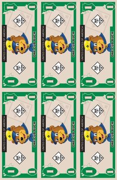 Cub Scout Cub Bucks- Get a buck every time  scout participates in an activity, comes to den meeting or pack meeting