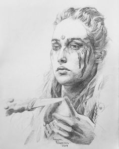 Graphite drawing of Alycia Debnam-Carey as Commander Lexa from the show The 100 ☸️💯💜