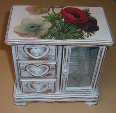 Armoire Style Jewelry Box Painted and Waxed French by artbrawl, $28.00