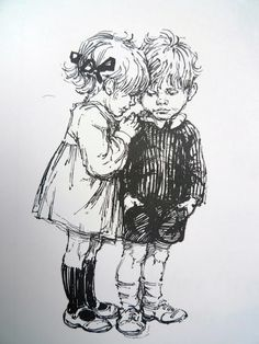 My Naughty Little Sister & Bad Harry. shirley hughes illustrating 'my naughty little sister' series Beatrix Potter, Art Sketches, Art Drawings, Pencil Drawings, Shirley Hughes, Children Sketch, Children's Book Illustration, Book Illustrations, Penny Black