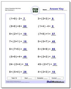 These order of operations worksheets mix basic arithmetic, including parentheses and exponents. If you are looking for order of operations worksheets that test your knowledge of the PEMDAS rules, these math worksheets are a good start. Pemdas Worksheets, 6th Grade Worksheets, Free Printable Math Worksheets, 5th Grade Math, Kids Worksheets, Ninth Grade, Science Worksheets, Seventh Grade, Free Printables