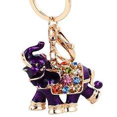 Osye Gold-tone Bling Crystal Animals Featured Thailand Elephant Keychain Cute Purse Handbag Charm Oil Drip Gift (Purple) - Brought to you by Avarsha.com