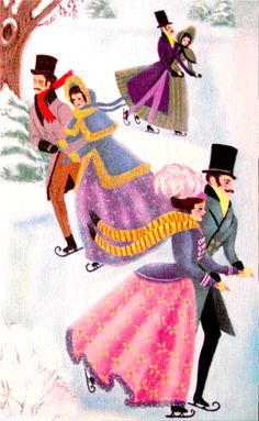 Skating couples at Christmas.