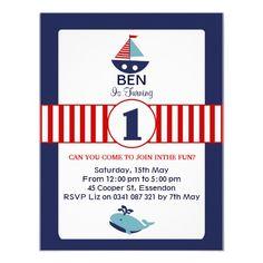Boys 1st Birthday Party Invitation Nautical theme