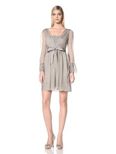 60% OFF Alberta Ferretti Women\'s Chiffon and Lace Dress (Grey)
