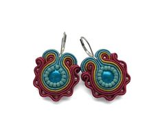 Oxblood Red Round Soutache Earrings Fall Fashion by mintESSENCE