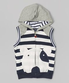 Putting a playful spin on comfort clothing, this hooded vest features a lively dog design and all-cotton construction.