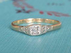 Antique Edwardian Engagement Ring, Vintage Solitaire Diamond Ring, Vintage Art Deco 9k Yellow Gold & Platinum Diamond Ring, Promise Ring