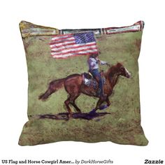 US Flag and Horse Cowgirl American Rodeo Art Pillows