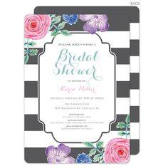 Grey Vintage Flower Bridal Shower Invitations