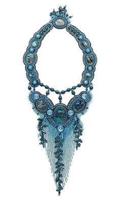 Anh Nhan - Neptune's Gift - Bib-Style Necklace with Paua Shell Cabochons, Cultured Freshwater Pearls and Seed Beads. Click through to see the incredible detail in this piece