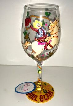 Lolita-Designs-Cowgirl-Glam-Wine-Glass-Bling-Rhinestone-Glitter-Rodeo-Horse