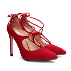 Red Pointed Toe Lace-up High Heels - US$43.95 -YOINS
