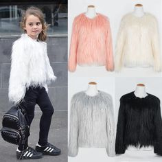 8274a11370f0 Lovely Girls Faux Fur Coat Long Sleeve O Neck Solid Color Fur Jacket Cute  Pink White Black Winter Warm Overcoats Kids Outwear Girls Fall Coats  Toddler Boy ...