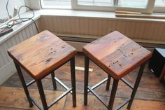 Reclaimed Pine & Metal Bar Stools by Vermont Farm Table